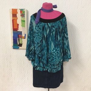 New Directions Sz 1X Pullover Sheer Blouse Women